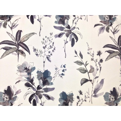 Blackout curtain with flowers in grey and purple