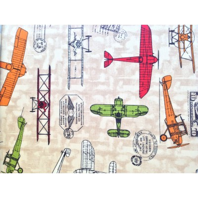 Curtain for children with airplanes on beige background