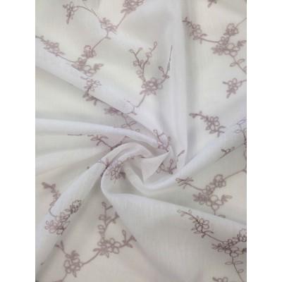 Плат за тънко перде имитиращо лен с бродерия в розово