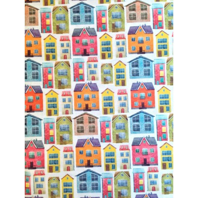 Curtain with digital stamp Colorful houses