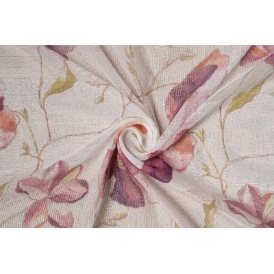 Плат за тънко перде с големи цветя в лилаво