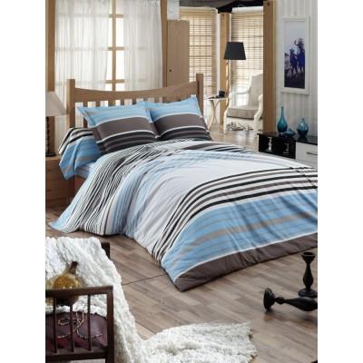 Единичен спален комплект ранфорс с райе в синьо