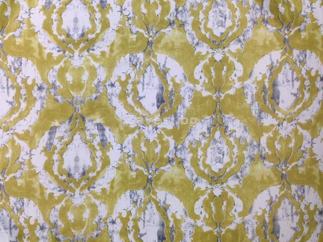 Плат за плътна завеса блекаут в жълто зелено с орнаменти