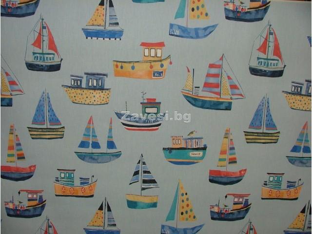 Плат за плътна детска завеса с лодки на син фон