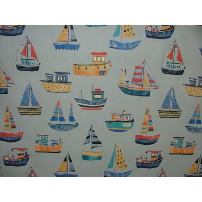 Curtain for children with boats on blue background