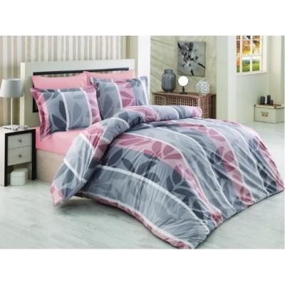 Единичен спален комплект ранфорс в сиво и розово