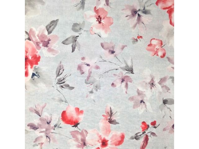 Плат за плътна завеса с цветя в червенo на сива основа