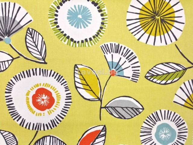 Плат за плътна завеса с абстрактни цветя на жълт фон