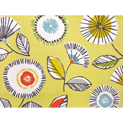 Curtain with abstract flowers on yellow background