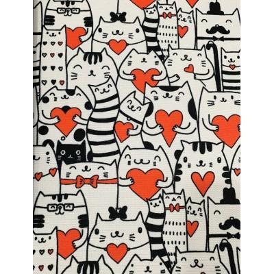 Плат за плътна завеса и дамаска Влюбени котки