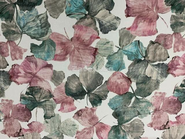 Плат за плътна завеса с флорални мотиви в пастелни цветове