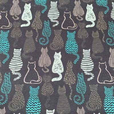 Дамаска с дигитален печат Котки в сиво и синьо