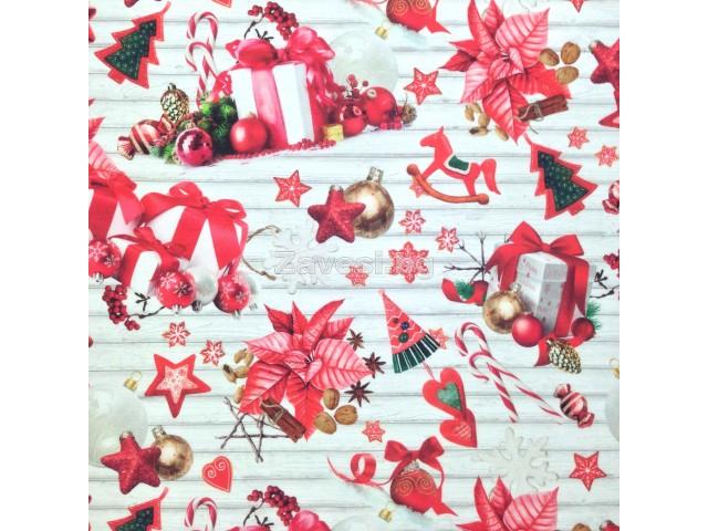 Коледен плат за плътни завеси и покривки Подаръци