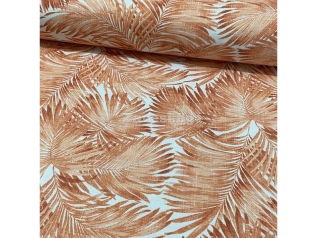 Плат за плътна завеса и дамаска с палмови листа в оранжево