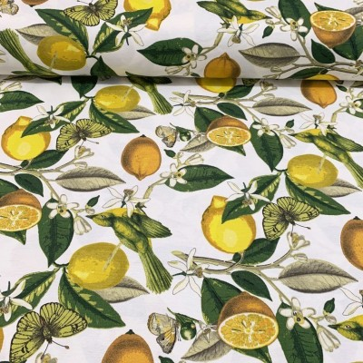 Curtain and upholstery with lemons and butterflies