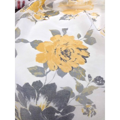Curtain with roses in yellow and grey