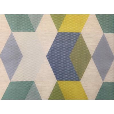 Луксозен сатениран плат за плътна завеса Interlock в жълто, синьо и зелено