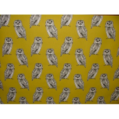 Curtain with owls on yellow background