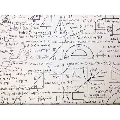 Дамаска с дигитален печат Математика на бял фон