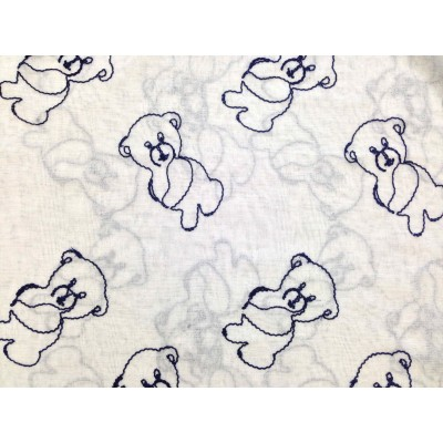 Curtain for children with bears in dark blue
