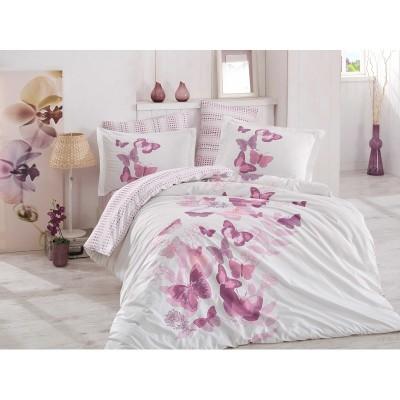 Двоен спален комплект от поплин с пеперуди в лилаво