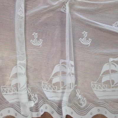 Curtain with boats in white