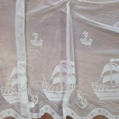 Плат за тънко перде с лодки в бяло