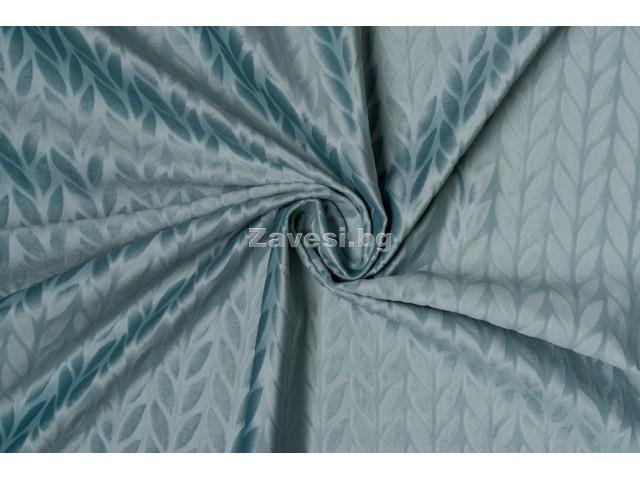 Плюшен плат за плътна завеса с релефен десен в синьо