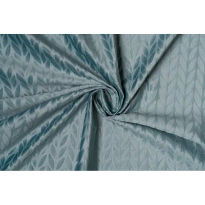 Plush curtain with design in blue