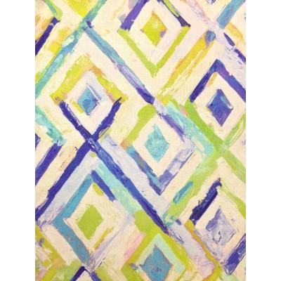 Ленен плат за плътна завеса и дамаска с ромбове в зелено и лилаво