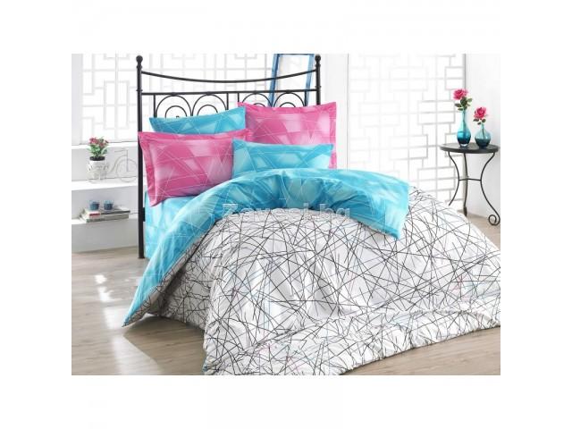 Двоен спален комплект от поплин Геометрия в синьо и розово