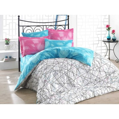 Double bedding set Geometry in blue and pink