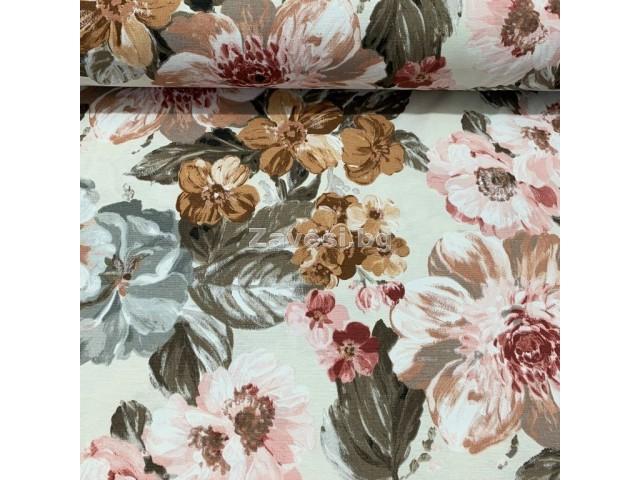 Плат за плътна завеса и дамаска с акварелни цветя в кафяво