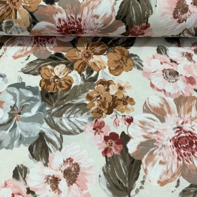 Curtain and upholstery with watercolor flowers in brown