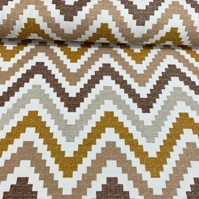 Curtain and upholstery Zig zag in brown