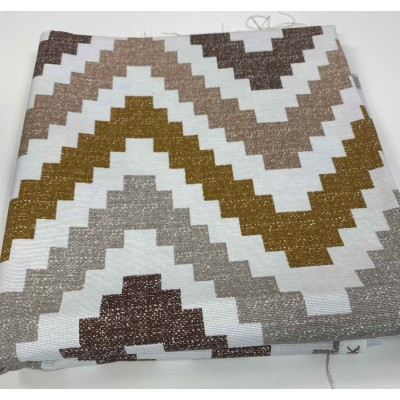 Piece fabric with zig zag in brown 1m/1,80m
