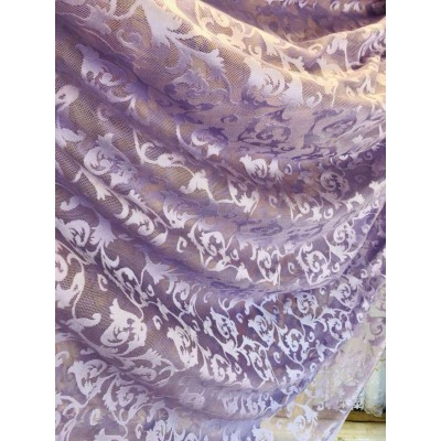 Lace curtain in purple with elements