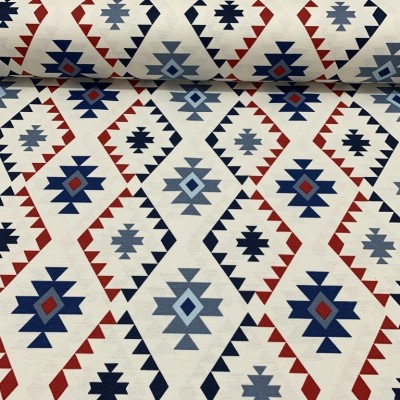 Curtain and upholstery with folklore motifs in blue