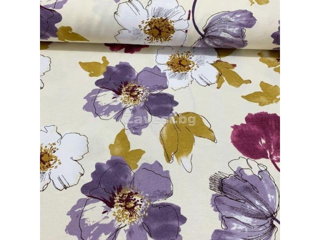 Плат за плътна завеса и дамаска с акварелни цветя в лилаво