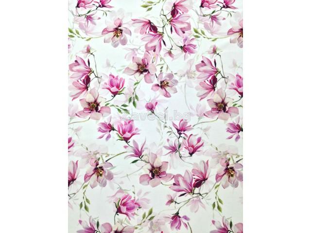Плат за плътна завеса с дигитален печат Лилави цветя