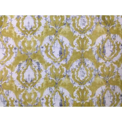 Затъмняващ плат за плътна завеса Блекаут в жълто зелен цвят с орнаменти