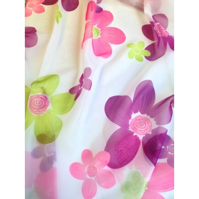 Thin curtain on flowers in pink and purple