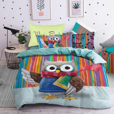 Единичен спален комплект с дигитален печат Бухал