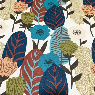 Дамаска с абстрактни цветя и листа в тъмни цветове