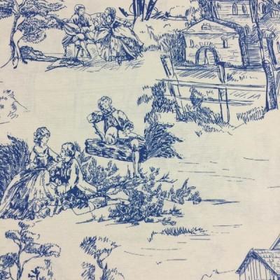 Плат за плътна завеса и дамаска в синьо Спомен