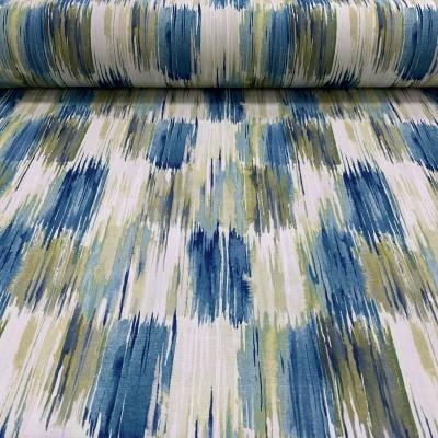 Плат за плътна завеса с принт в синьо и светло сиво