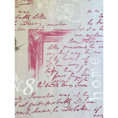 Плат за плътна завеса с червени надписи на бежов фон