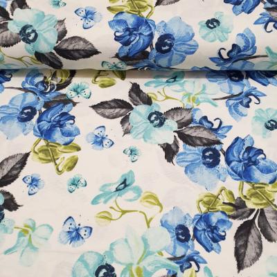 Дамаска със сини орхидеи