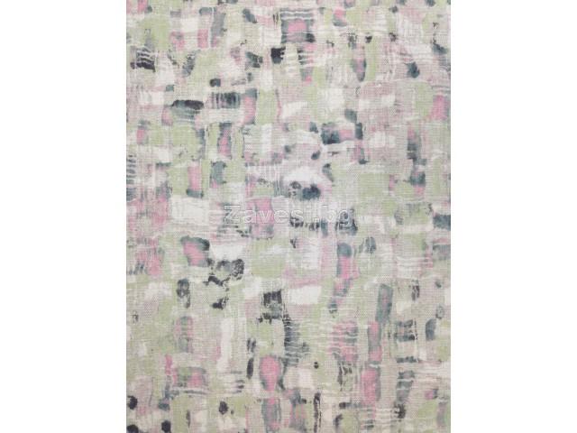 Плат за плътна завеса с модерен десен с акцент зелено и розово