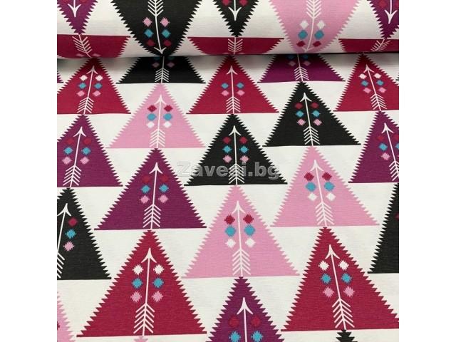 Плат за плътна завеса с лилави триъгълници